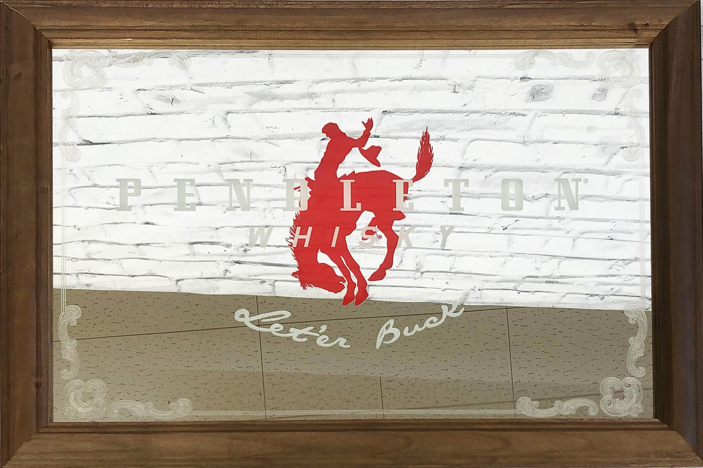 品番0170 パブミラー 『PENDLETON WHISKY(ペンドルトン ウイスキー)』 壁掛 アート 木製フレーム 011