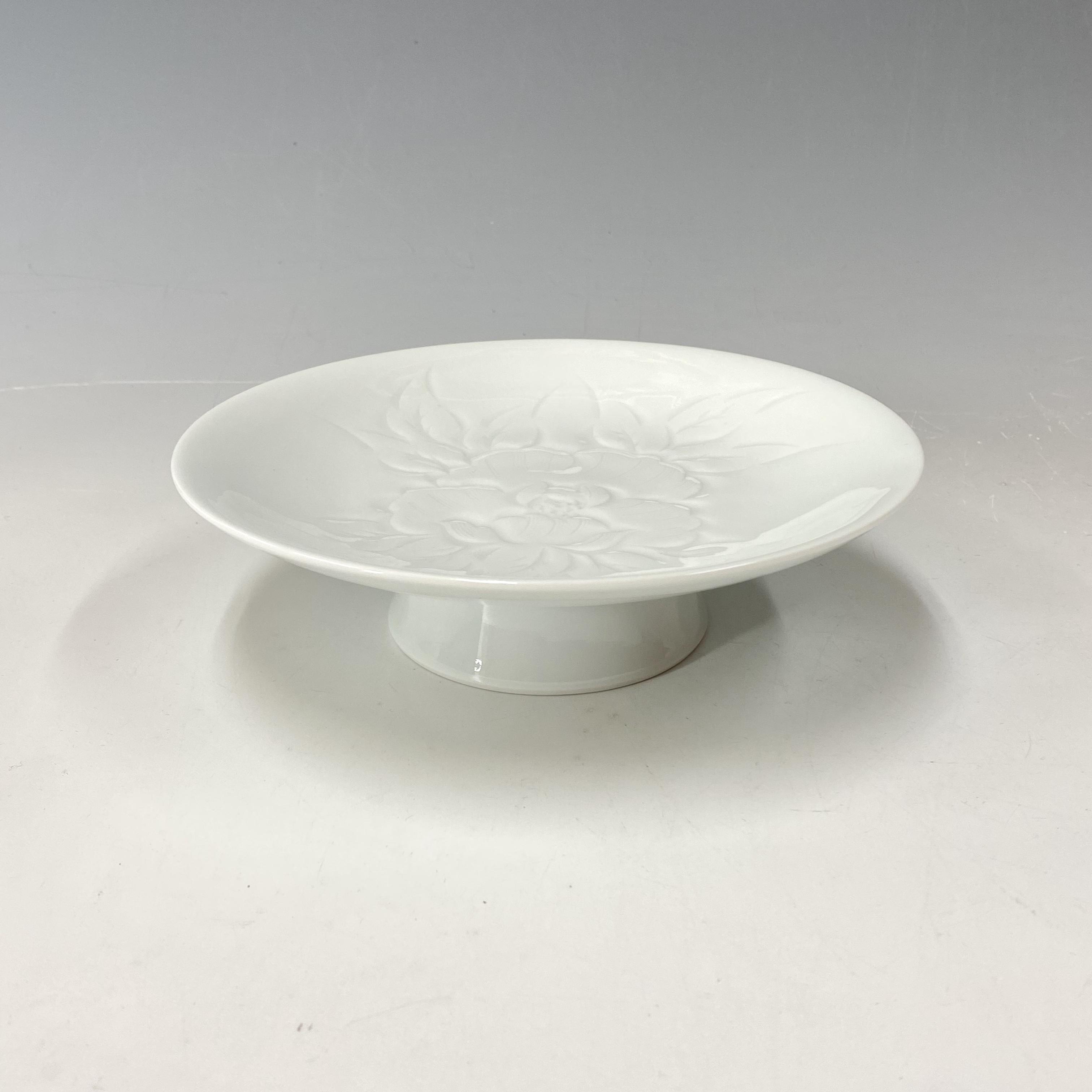 【中尾恭純】白磁牡丹彫コンポート