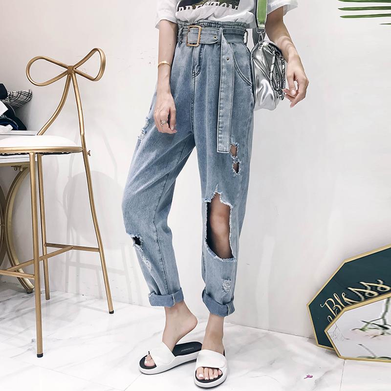 【bottoms】ファッション切り替えデニムパンツ20583842