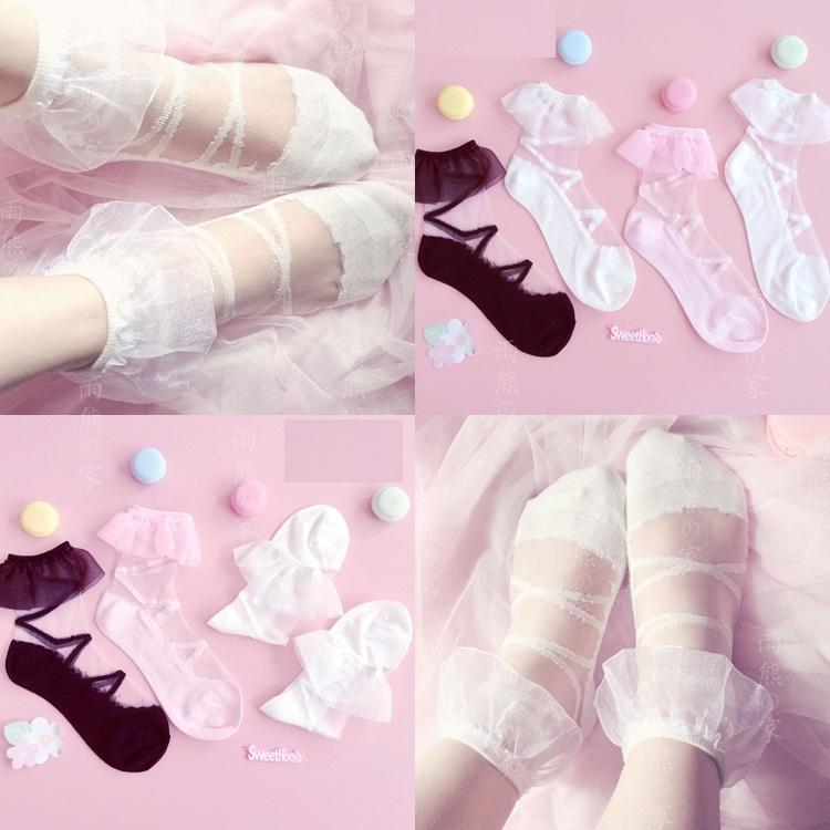 【在庫あり】スウィートレースソックス Sweet Lace Lolita Socks