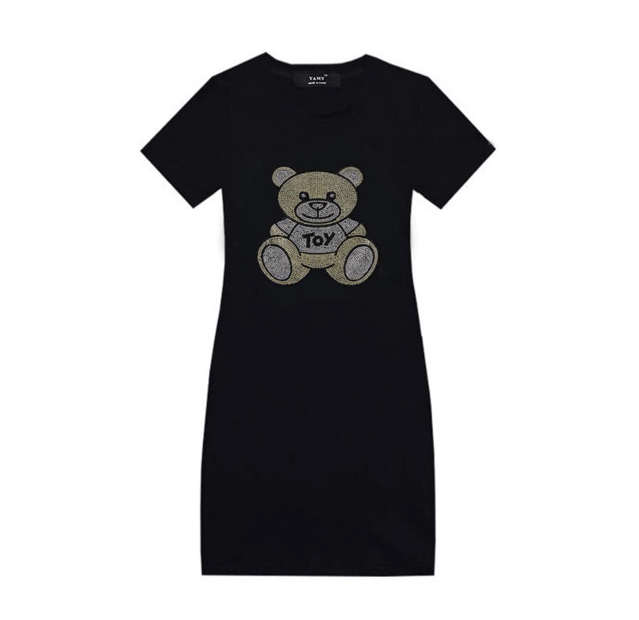 キラキラベアTシャツワンピース/Black