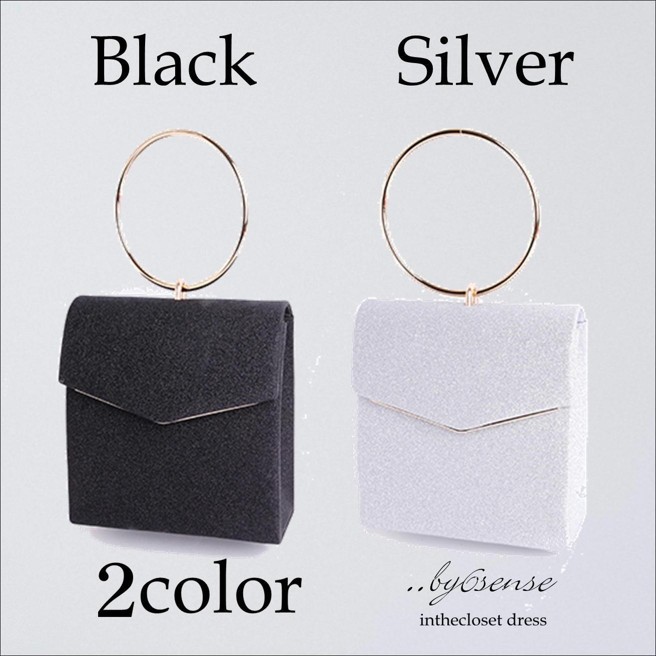 2color リングデザインボックス型 パーティバック 【浜松ドレスショップ..by6sense】