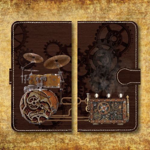 スチームパンク調/楽器/歯車/機械仕掛け/レトロ/SF/蒸気機関/ドラム/Androidスマホケース(手帳型ケース)