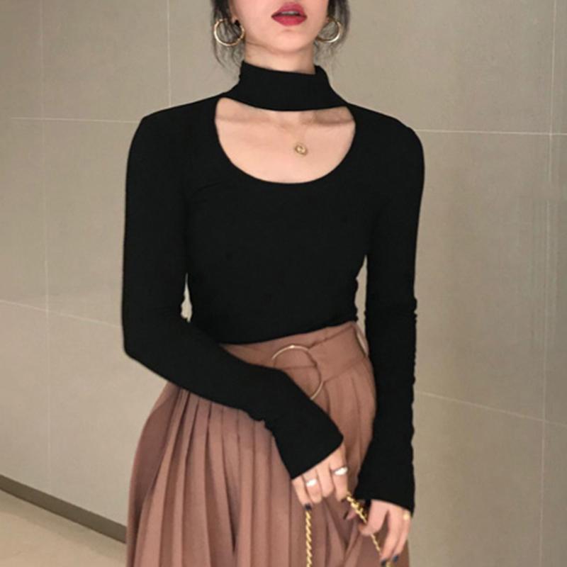 「トップス」スタンドネックファッション透かし彫りカジュアル長袖3色tシャツ