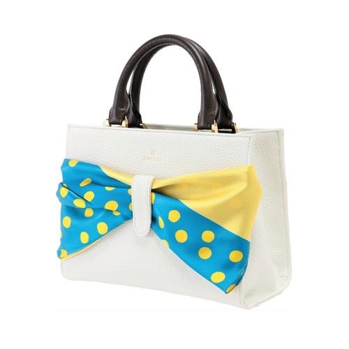 ZAWAZA オリジナルバッグ <結~Yui~> バッグ :オフホワイト スカーフ:青(不揃い水玉)×黄(万筋)