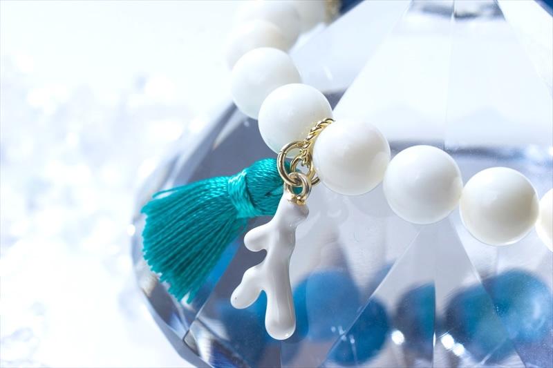 WhiteCoral&BlueOnyx【パワーストーンブレスレット 】 - 画像4
