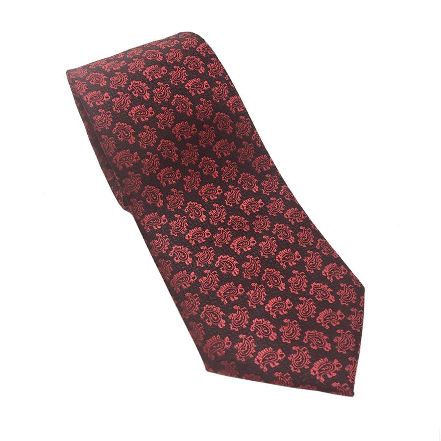 【派手タイ】赤ペイズリー柄ネクタイ