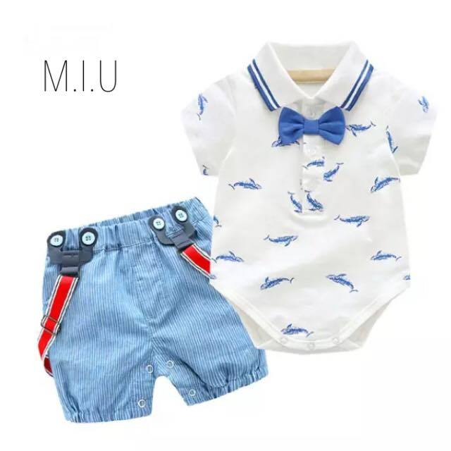 クジラ柄シャツ上下セット #MIU534