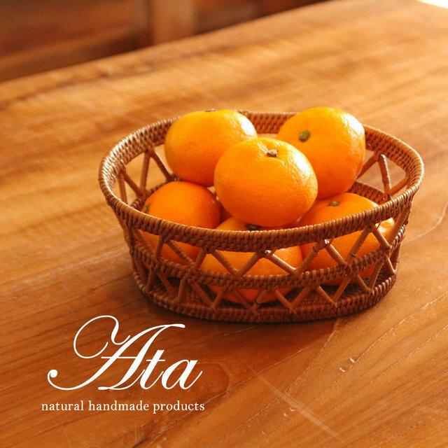 ■当日出荷■アタ製 アタ細工が目を引くバスケット 冬のみかん入れにも最適 A10 (手編みかご、小物入れ、果物かご)