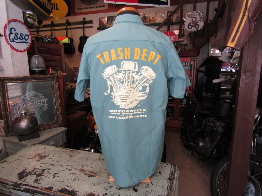 TRASH DEPT オリジナルワークシャツ / E/G 半袖  ライトグリーン