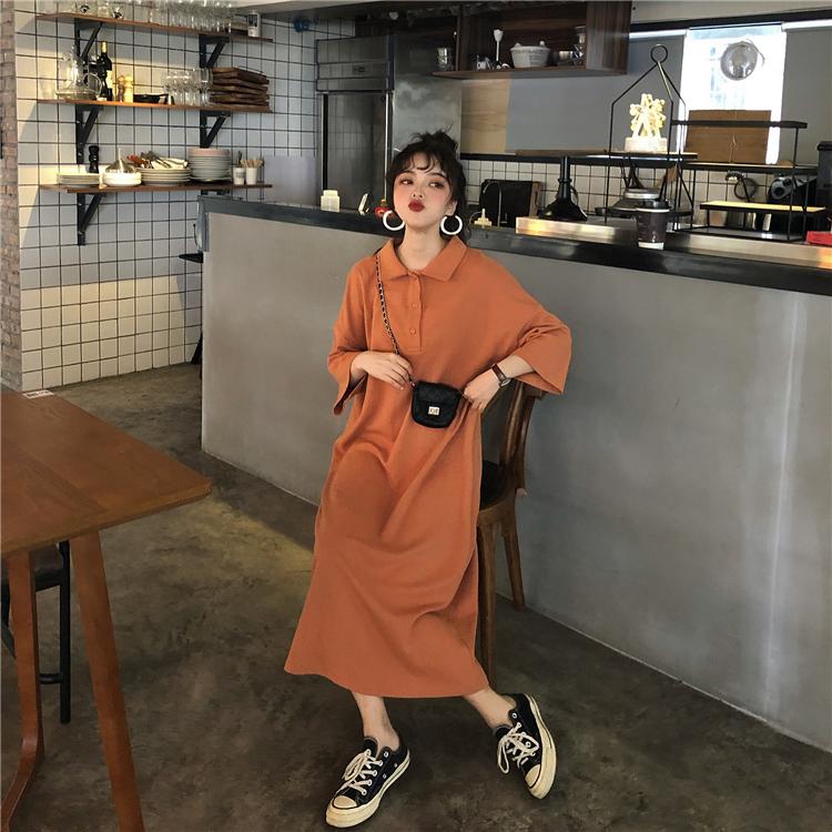 【送料無料】ポロシャツ風 マキシワンピ ♡ カジュアル 五分袖 オーバーサイズ  ルーズ ロング丈 ワンピース
