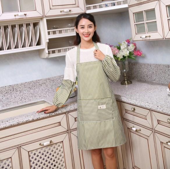 30%OFFc[A65]レディース ストライプエプロン 袖カバー付き 料理 防水 業務