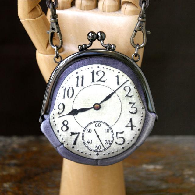 【即納】時計がま口 持ち手つきコインケース アラビア数字銀時計 - 金星灯百貨店