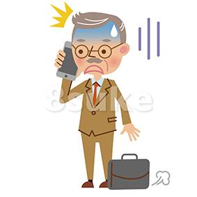 イラスト素材:スマートフォンで通話する熟年のビジネスマン/ショックをうけた表情(ベクター・JPG)