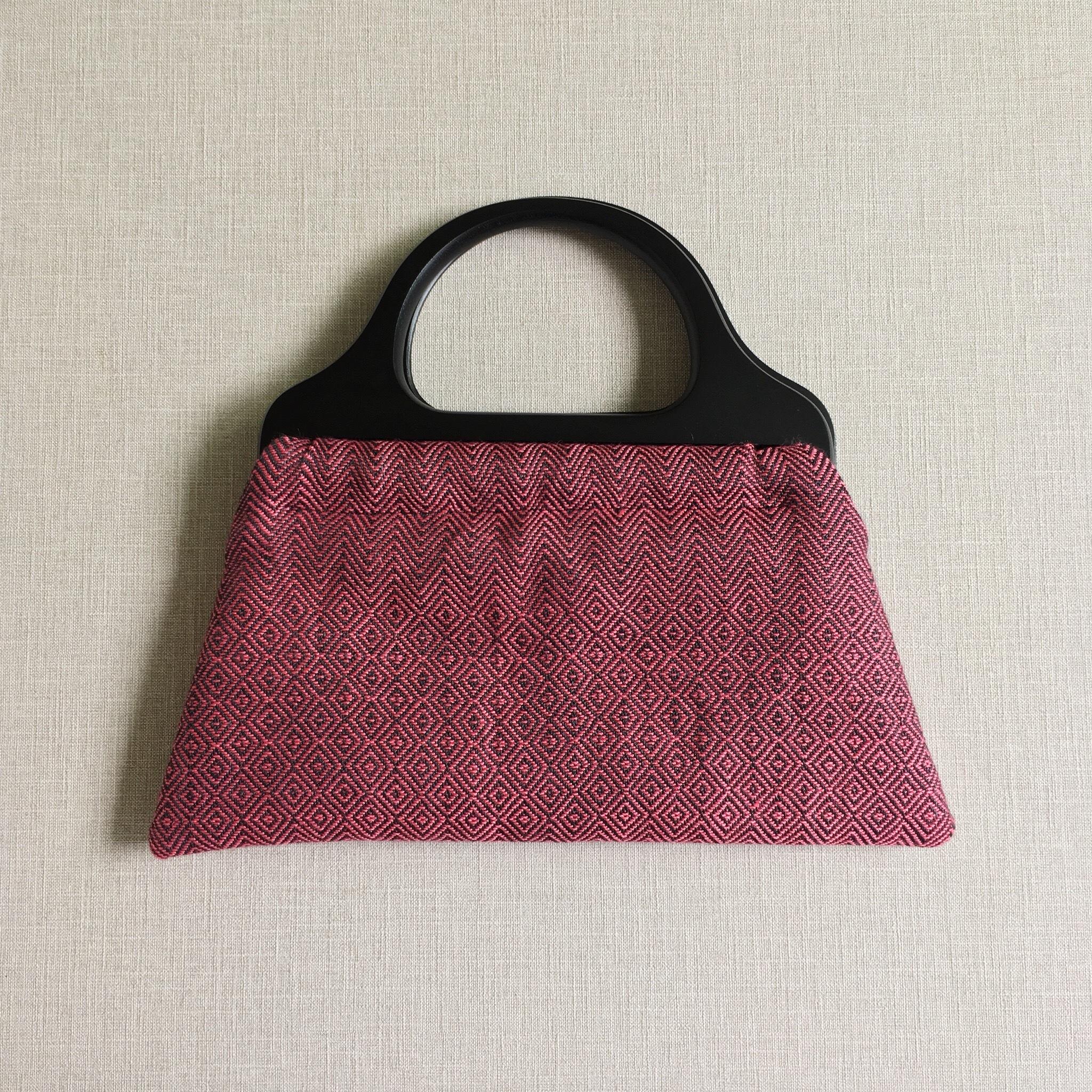 手織りウッドハンドルバッグ(Wood handle bag Pink herringbone& bird's-eye)
