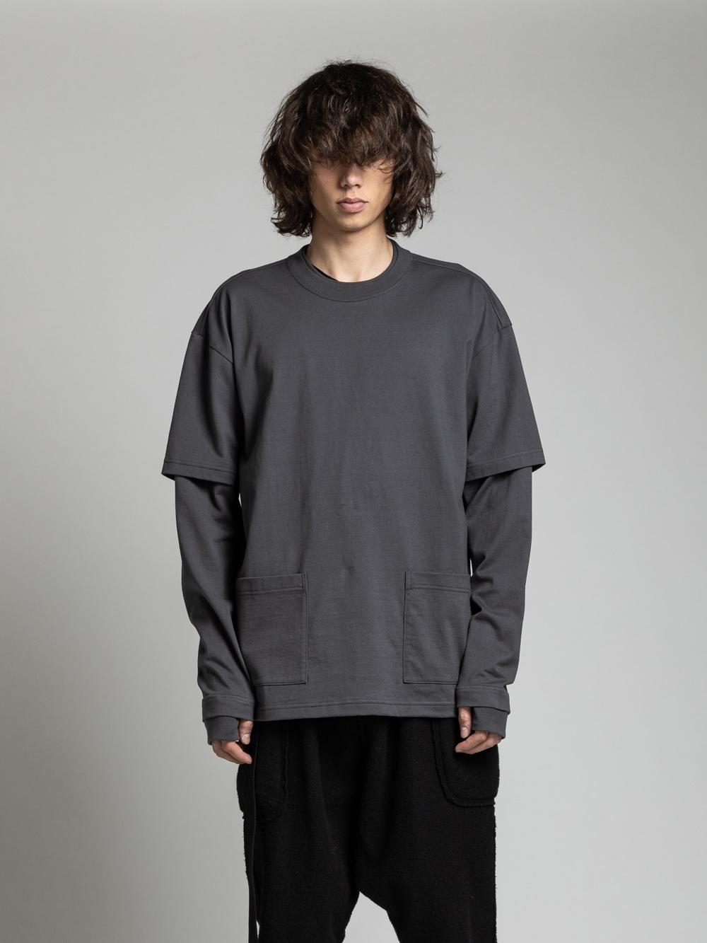 VI-3158-01 / 40/-天竺 裾ポケット レイヤード 長袖カットソー