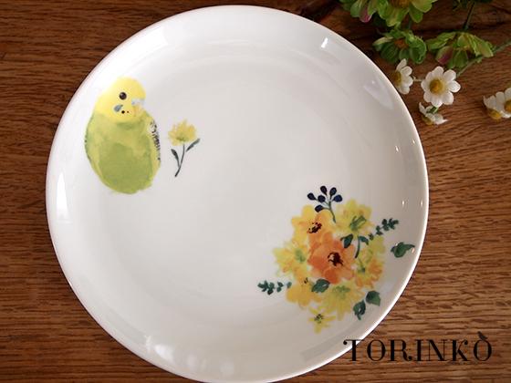セキセイインコグリーンとお花 お皿