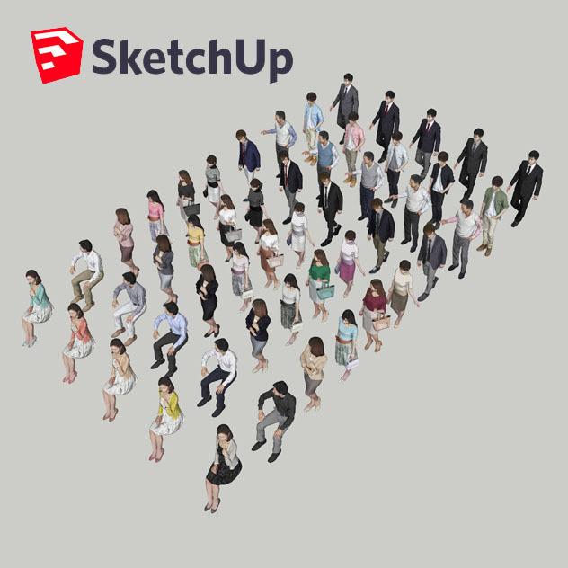 SketchUp素材 3D人物素材-ポーズド 10個セット 001_Posed-set - 画像2