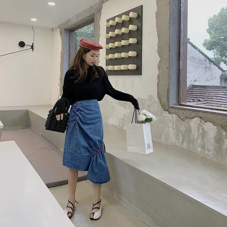 unique design denim skirt