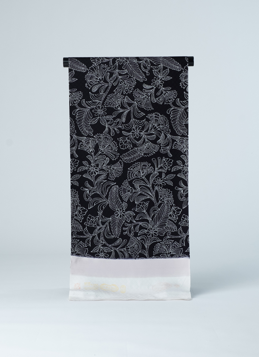 古典柄小紋の反物 丹後ちりめん 友禅染 正絹製 カジュアル