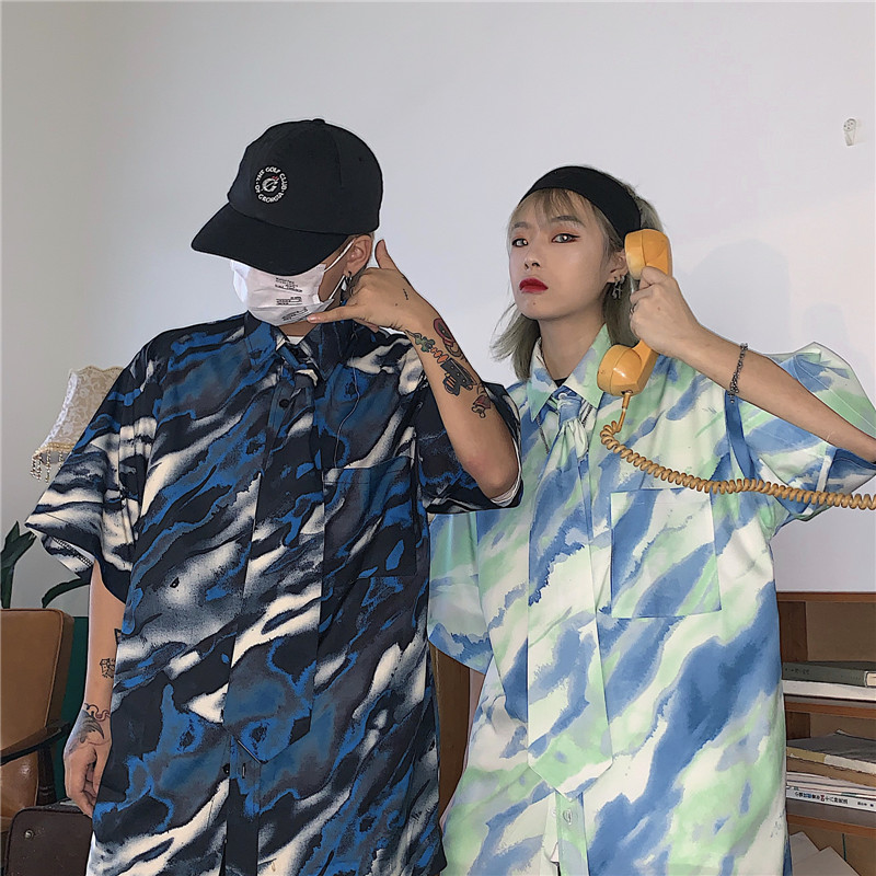 【tops】ストリート系配色POLOネックシャツ22145013