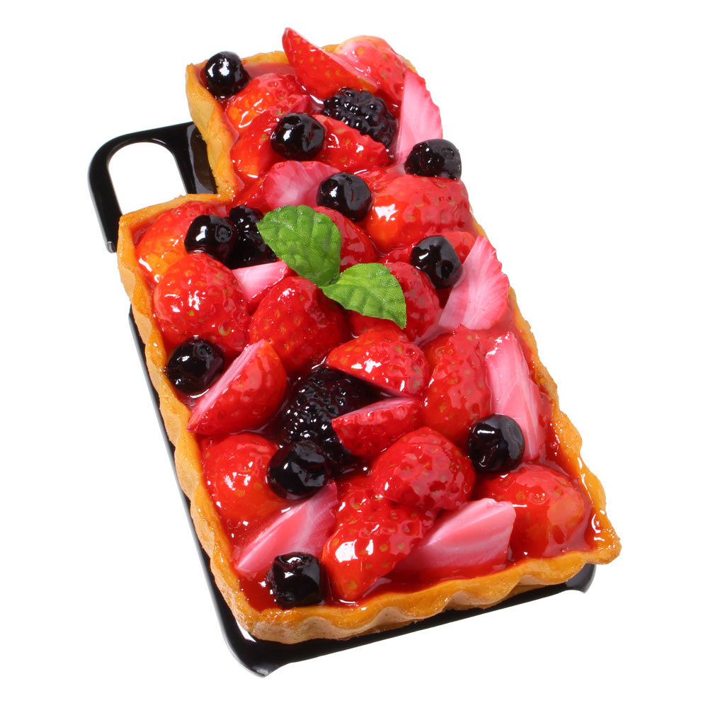 [8000]食品サンプル屋さんのスマホケース(iPhone XS、XS Max、XR:いちごタルト)【メール便不可】
