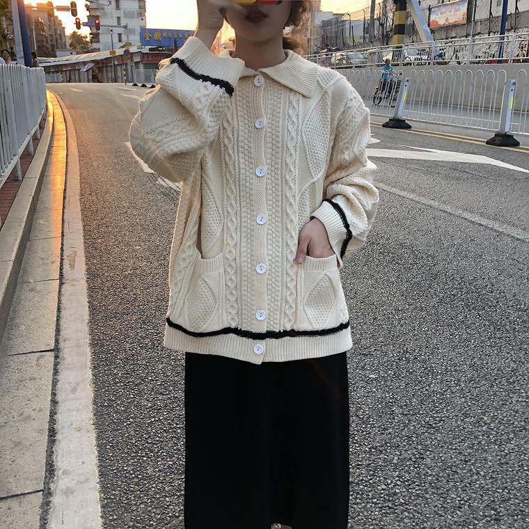 【送料無料】 華奢見せニット♡ 襟付き ケーブル編み ニット カーディガン プルオーバー ゆるかわ