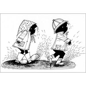 ポストカード 大きな水たまりを歩く(FO_PO_10094)