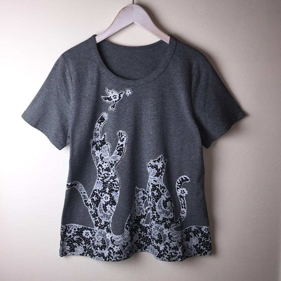 【SALE】ネコTシャツ ラインストーン刺繍プリント グレー【40%OFF】