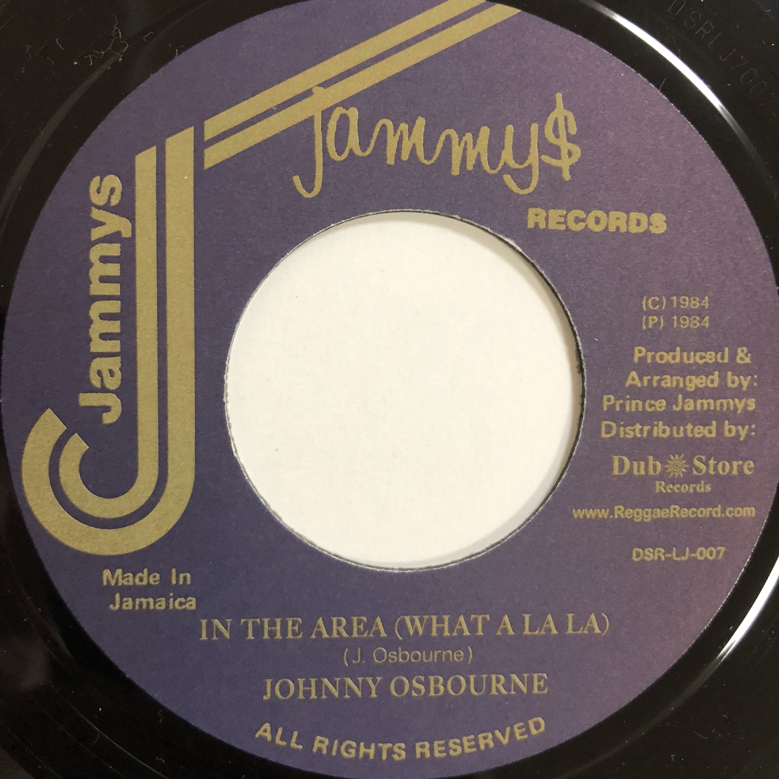 Johnny Osbourne(ジョニーオズボーン) - In The Area (What A La La)【7-20139】