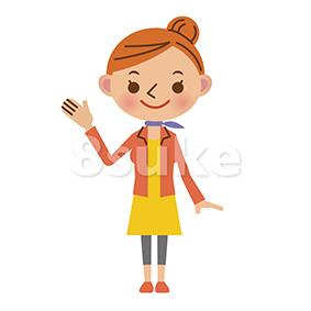 イラスト素材:紹介する若い女性(ベクター・JPG)