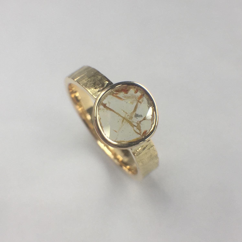 ナチュラルダイヤモンドリング 0.347ct  K18イエローゴールド チェカ 鑑別書付