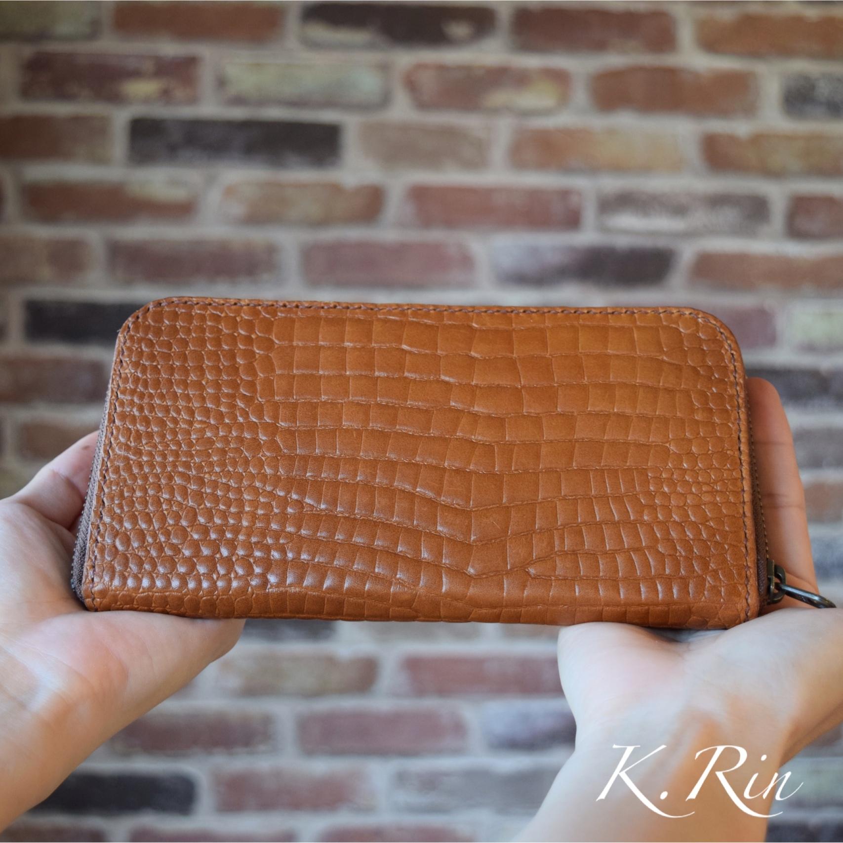 【受注制作】型押しクロコダイルのラウンドファスナー長財布