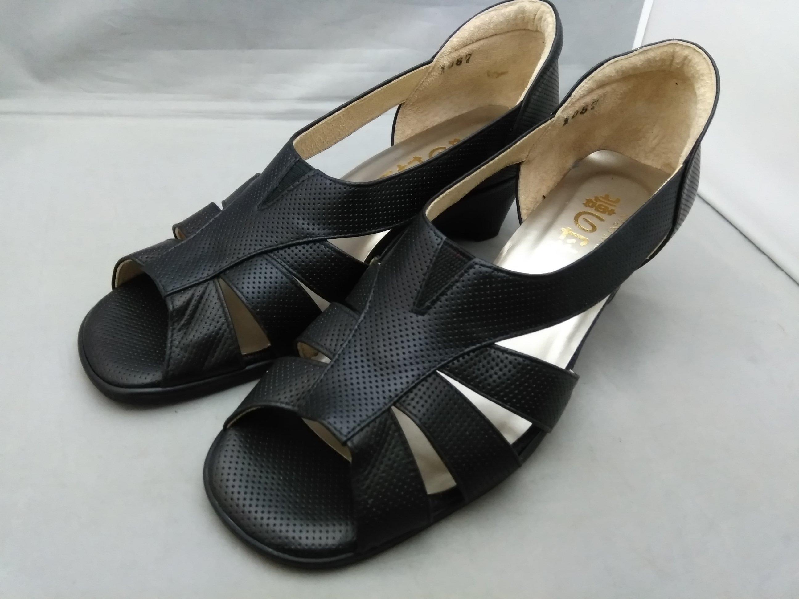 下村の靴 ウエッジソール パンプス 24.5cm4E 黒 革 mu646e