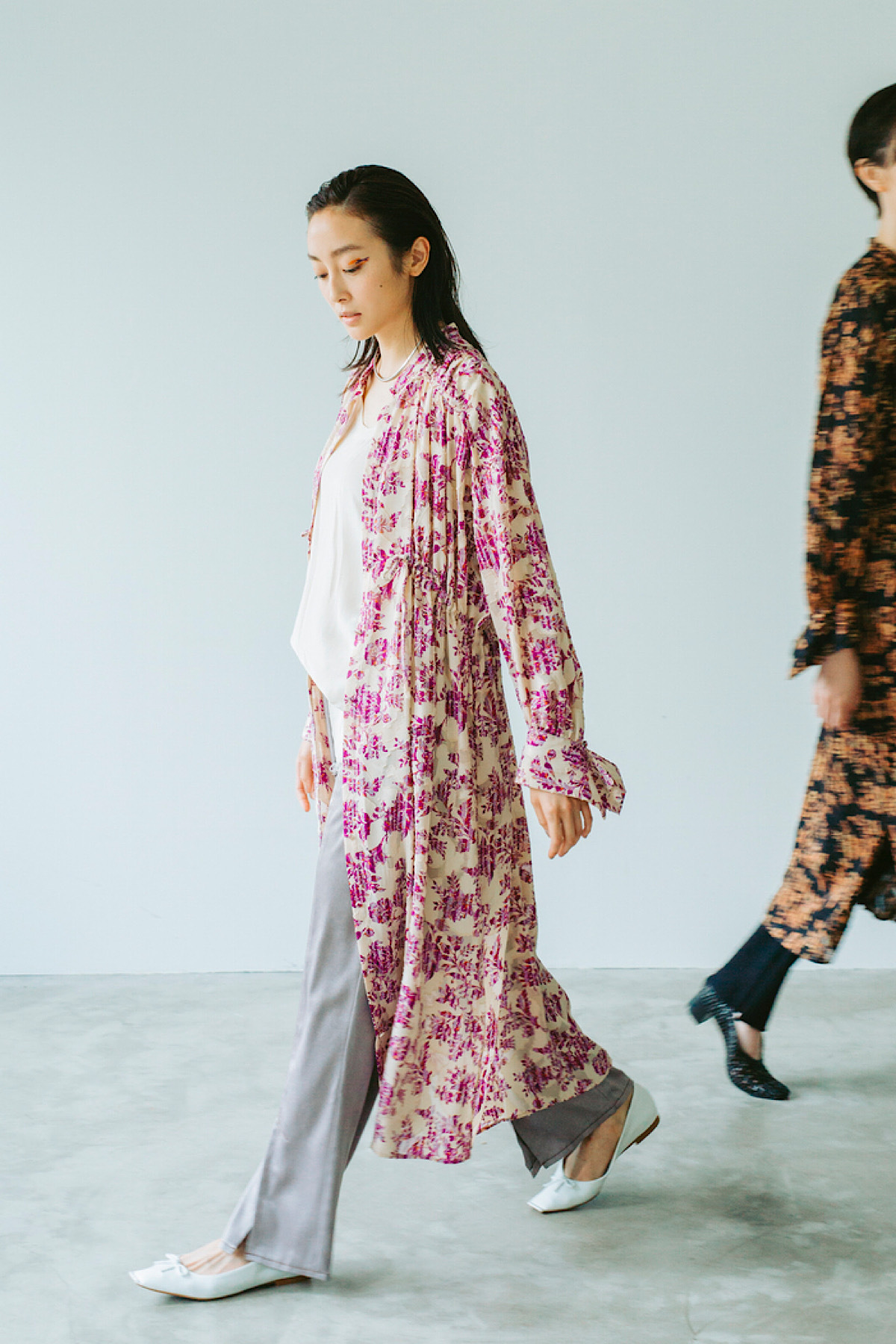 ペイズリージャガードドレス 2色:アイボリー