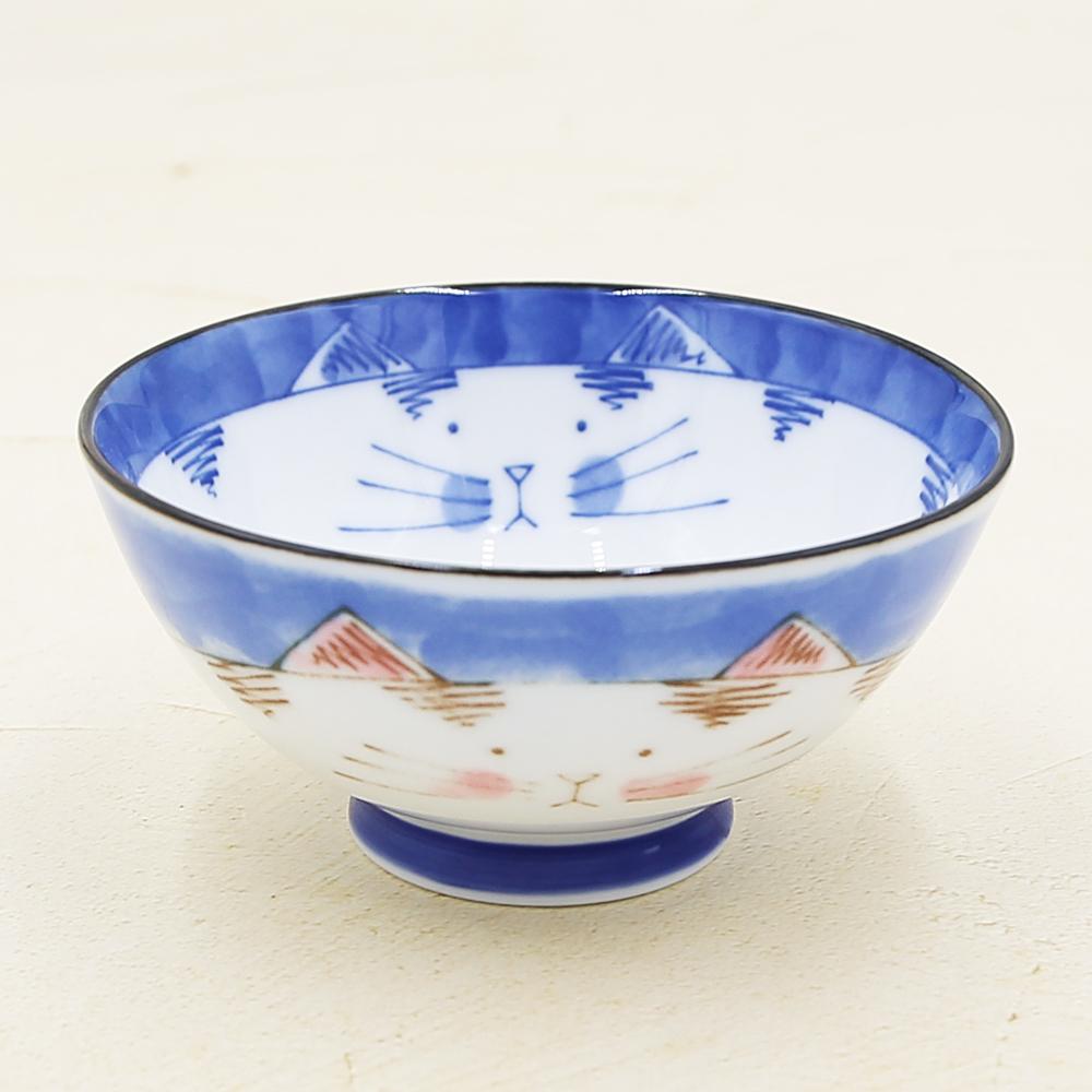 猫飯椀(ミケ茶碗)ブルー