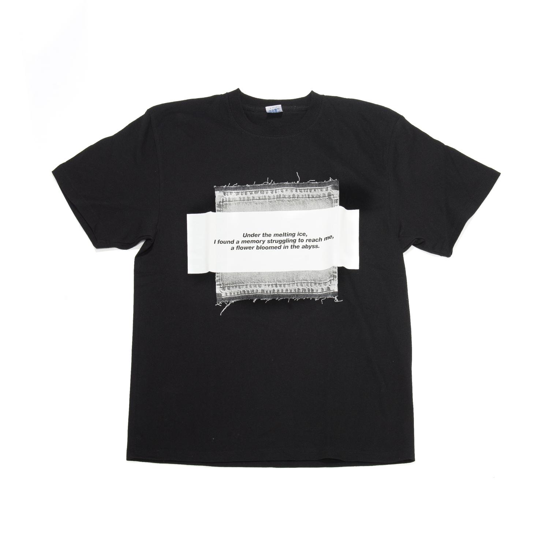 007CUM99-BLACK / デニムパッチT-シャツ