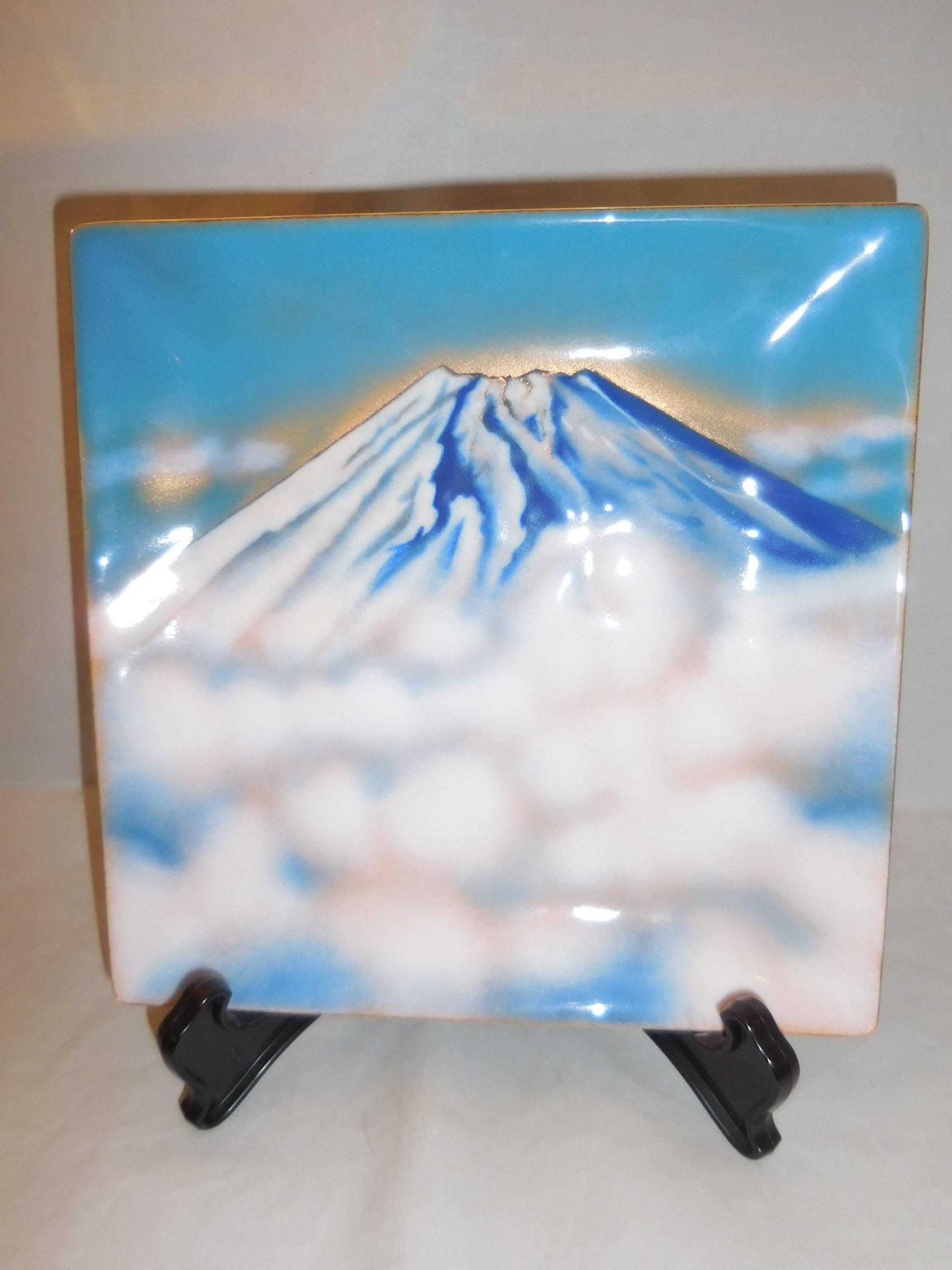 安藤七宝富士山飾り皿 cloisonne enamel plate(Mt.Fuji)