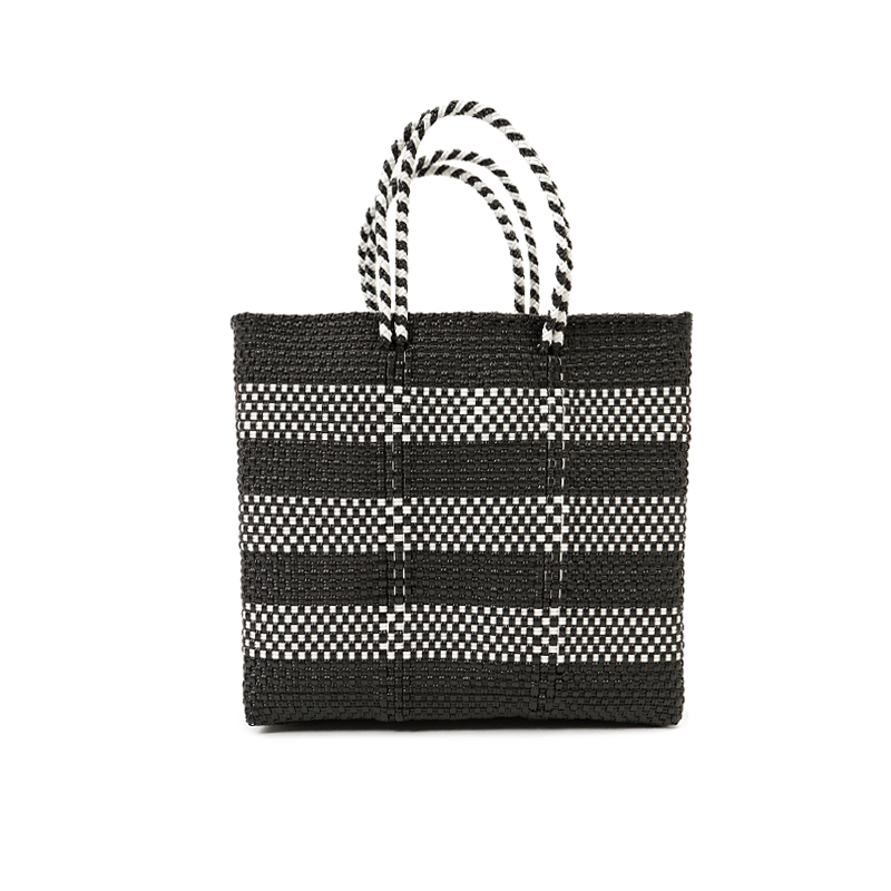 MERCADO BAG BORDER2-Black x White (S)