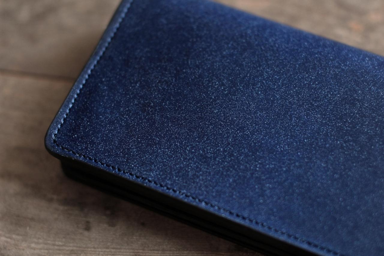 藍染革[migaki] 長財布 【数多】