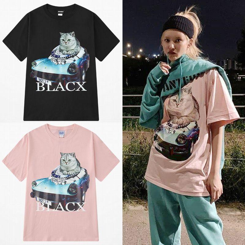 ユニセックス 半袖 Tシャツ メンズ レディース 車 ネコ プリント オーバーサイズ 大きいサイズ ルーズ ストリート