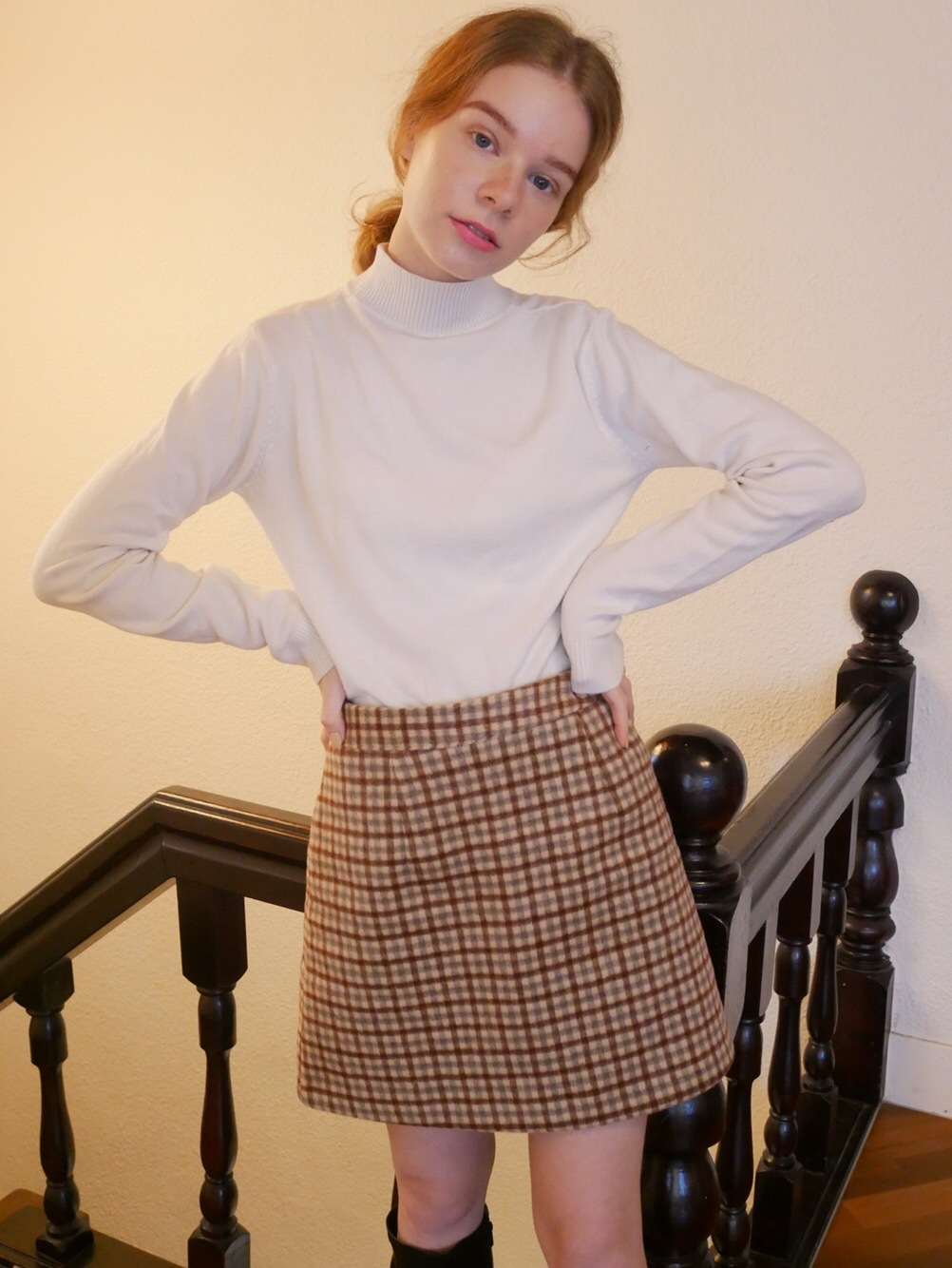 Wool tight skirt