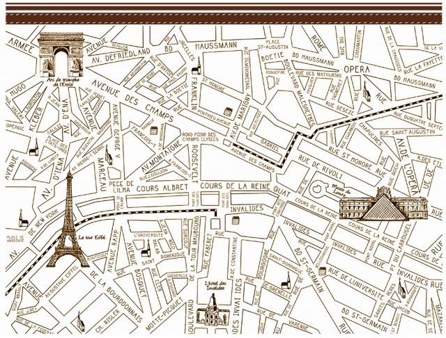 パリマップ ParisMap ダークブラウン A4サイズ (ポーセリンアート用転写紙)