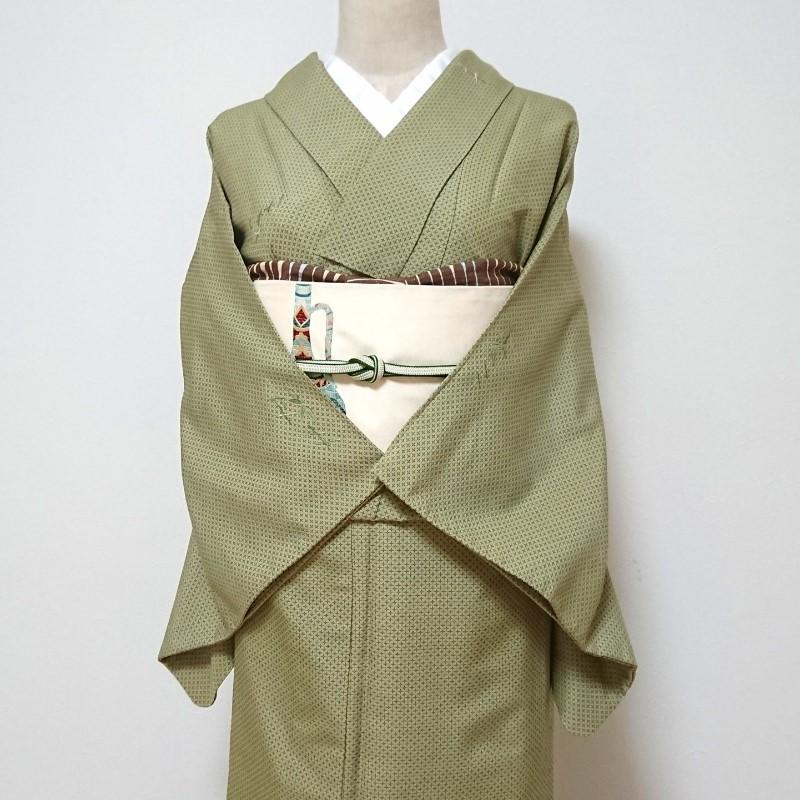 ★単衣★十字絣に笹の小紋