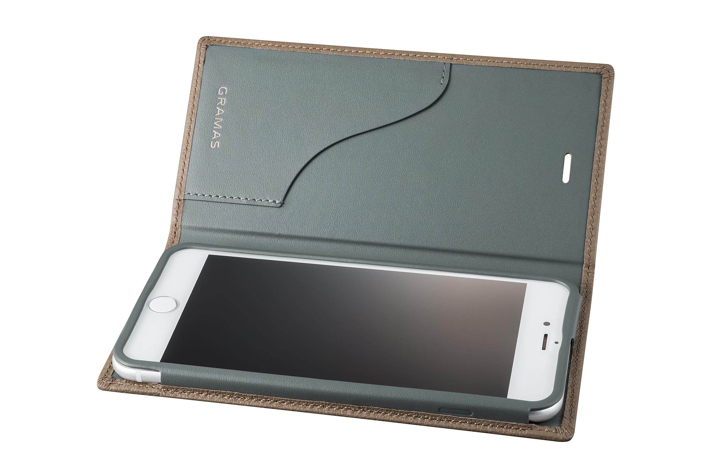 GRAMAS Shrunken-calf Full Leather Case for iPhone 7 Plus(Taupe(トープ)) シュランケンカーフ 手帳型フルレザーケース - 画像3