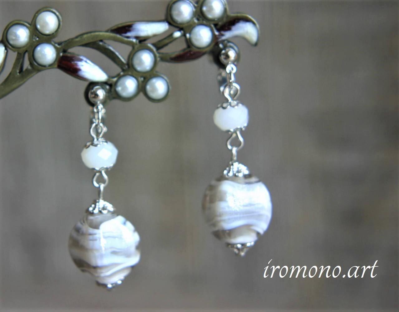 デザインイヤリング~白い宝石~【ホワイト】
