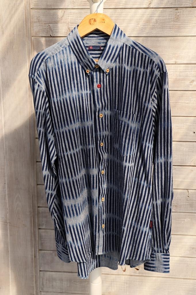 ボタンダウンシャツ(メンズ)SHI 05 藍染絣柄よこ藍楊柳