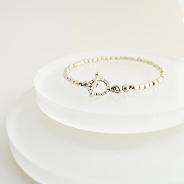 Matte Silver Simple Bracelet
