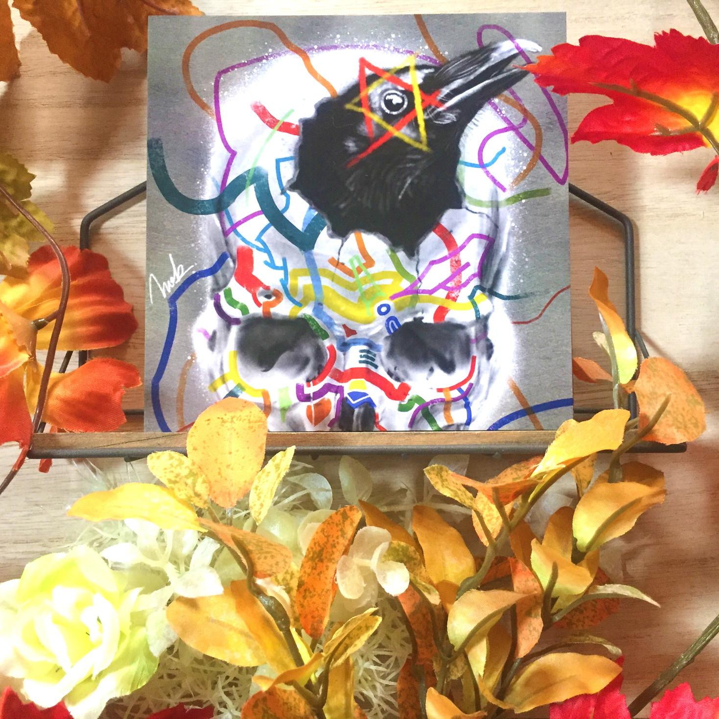絵画 インテリア アートパネル 雑貨 壁掛け 置物 おしゃれ 髑髏 ドクロ カラス 現代アート ロココロ 画家 : nob 作品 : L&D02
