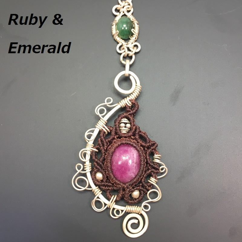 Ruby Emerald silver pendant